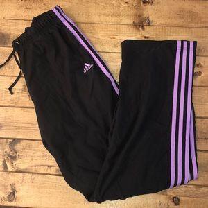 Adidas Black Pants triple purple stripe Medium